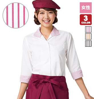 レディスイタリアンカラー七分袖ブラウス(34-FB4034L)