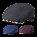 ツバ部分に和柄があしらわれたおしゃれなハンチング帽