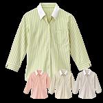 ストライプ柄の女性用七分袖シャツ(32-24241)