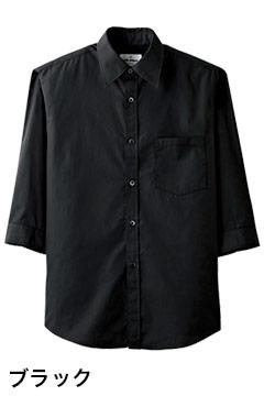 人気の七分袖カジュアルシャツ(ブラック)