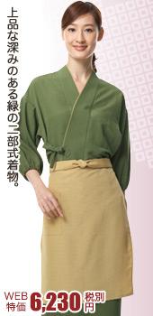 お寿司屋さんでも活躍!上品で深みのある緑の二部式着物