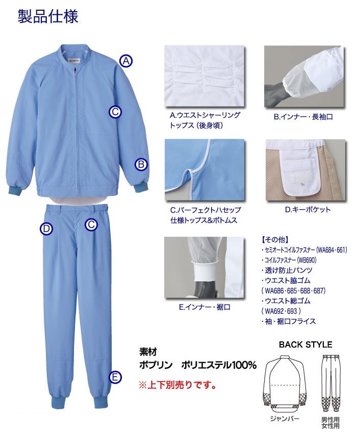 高温作業向けの食品白衣ウォーターバランスの製品仕様