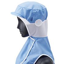 フードタイプで人気No1!サックス色の衛生帽子(33-DC5212)