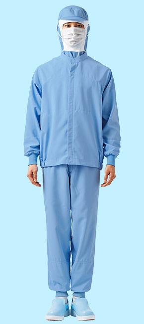 交差汚染対策におすすめしたいサックス色の食品白衣コーディネート