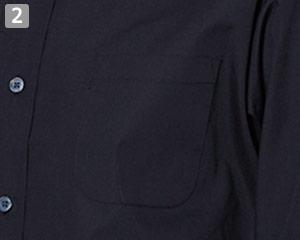 七分袖スタンドカラーシャツのポイント�左胸ポケット
