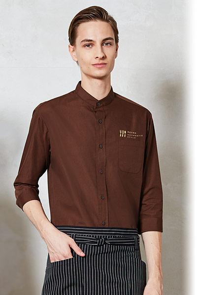チトセの七分袖スタンドカラーシャツ(31-EP8361)のポイント画像