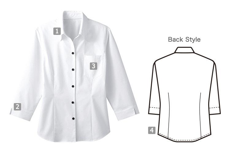 レディースベルカラーシャツの商品詳細