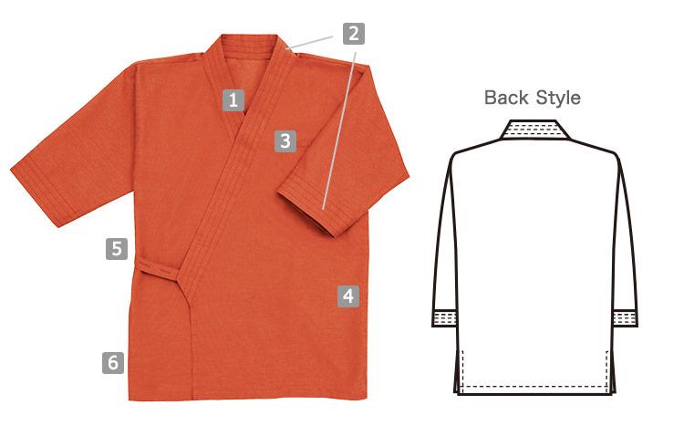 風格子作務衣の商品詳細