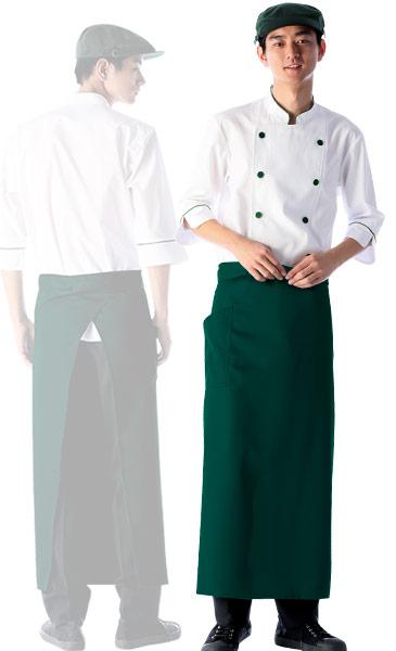 緑のソムリエエプロンのコーディネート例