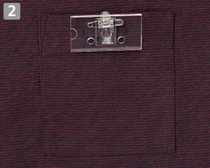 和風ショップコートのポイント�左胸ポケット・ネームループ付き