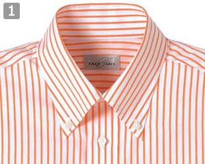 ストライプシャツのポイント�ボタンダウンの襟元