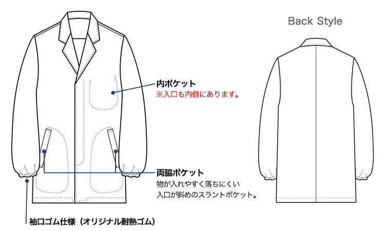 セブンユニフォームの長袖白衣(35-AA0310)画像
