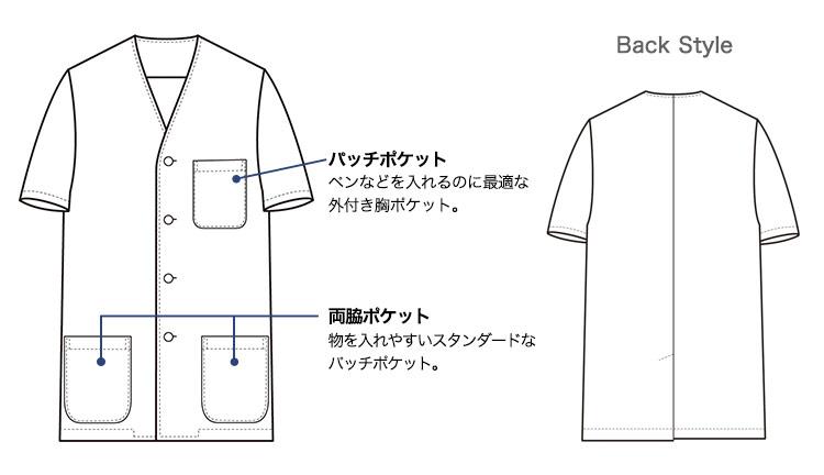 セブンユニフォームの半袖白衣(35-AA0322)画像