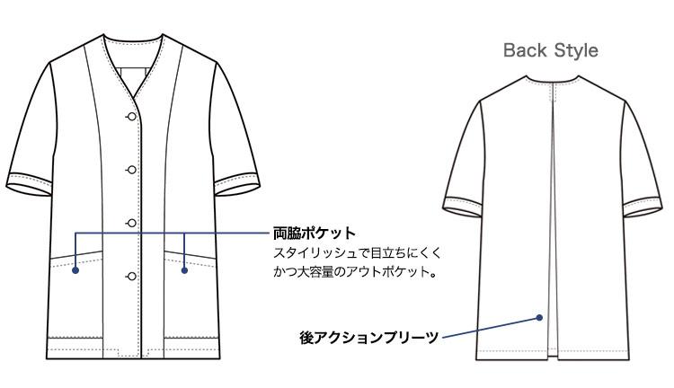 セブンユニフォームの半袖白衣(35-AA0332)画像