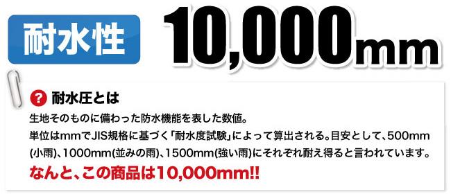 耐水性10000mm