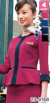 HANECTONE(ハネクトーン)の事務服 「色でおもてなしの心を伝える」ノーカラー・ジャケット 23-9168