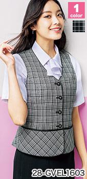 GROW(グロウ)の事務服 夏でも涼しい、白×黒のチェック柄ベスト 28-gvel1603