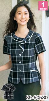フリル襟が可愛い、SELERY(セロリー)の事務服 オーバーブラウス89-50580 (50582 50583)