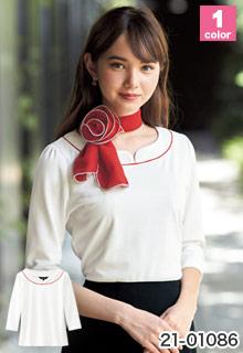 七分袖カットソー[UVカット/透け防止](21-01086)