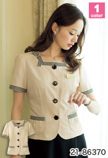 EN JOIE(アンジョア)の事務服 かわいいリボンブローチ付きサマージャケット 21-86370