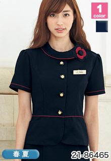 EN JOIE(アンジョア)の事務服 赤のパイピングが華やかなサマージャケット 21-86465