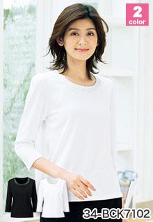 七分袖ニット[衿ぐりサテン切替え](34-BCK7102)