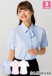 オフィス制服におすすめ、BONMAX(ボンマックス) ニットの事務服半袖ブラウ  ス 34-rb4548