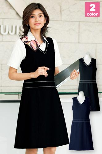 きちんと見えるのに動きやすい、BONMAX(ボンマックス)ジャンパースカート 事務服34-AO5800