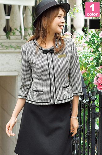 上品なチェックは大人女性にもおすすめ、EN JOIE(アンジョア)の事務服ジャケット21-86280