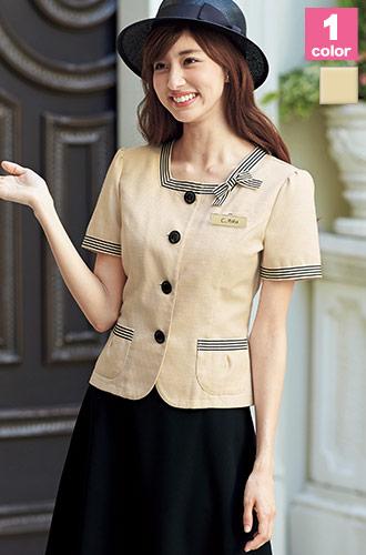ベージュとブラックの好感度配色が人気、EN JOIE(アンジョア)の事務服ジャケット21-86370