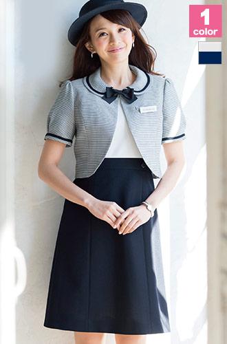 心地よいニット素材と上品なデザインが魅力、EN JOIE(アンジョア)の事務服ワンピース21-66420