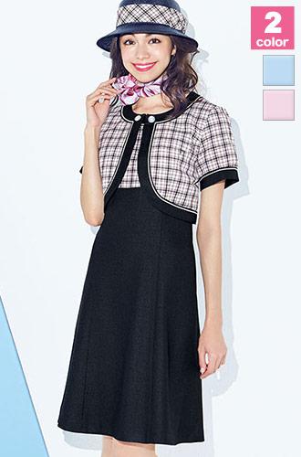 甘くなりすぎない可愛さの切り替え配色、BONMAX(ボンマックス)の事務服ワンピース34-LO5709