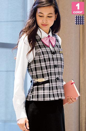 大人可愛いピンクとブラック、フォーク(ヌーヴォ)の事務服ベスト76-FV36207