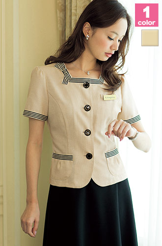 EN JOIE(アンジョア)の事務服 可愛いリボン付きサマージャケット 21-86370