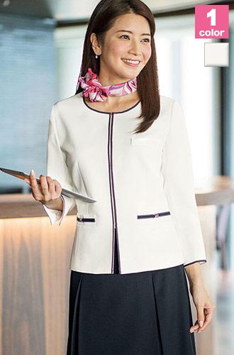 BONMAX(ボンマックス)の事務服 爽やかなホワイトの七分袖ジャケット 34-lj0764