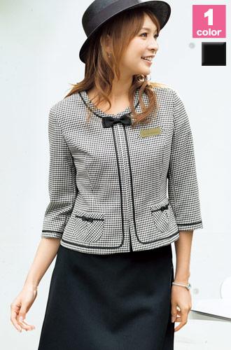 EN JOIE(アンジョア)の事務服 モノトーンの七分袖ジャケット 21-86280