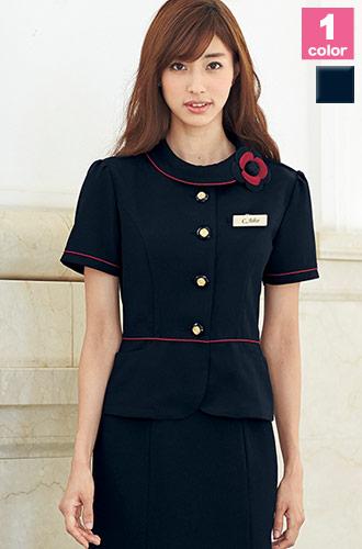EN JOIE(アンジョア)の事務服 ネイビーに赤のパイピングのジャケット 21-86465