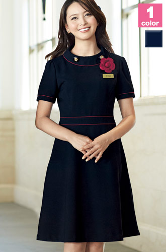 EN JOIE(アンジョア)の事務服 ネイビーに映える赤が美しいワンピース 21-66460