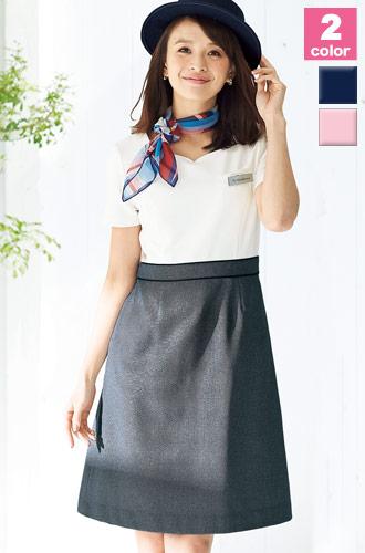 EN JOIE(アンジョア)の事務服 胸元がハート型カットのワンピース 21-66520