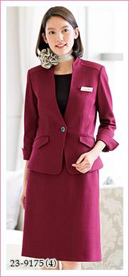 スタンドカラーできちんと感のあるおもてなしに、快適ニットジャケット HANECTONE(ハネクトーン)事務服23-9175