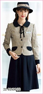 大人可愛い丸襟とベージュ×ネイビーが癒し系のおもてなしジャケット EN JOIE(アンジョア)21-81630