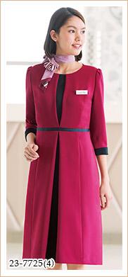 鮮やかカラーが華やか、エレガントで高機能のワンピース HANECTONE(ハネクトーン)事務服23-7725