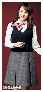 シャツやカットソーとの相性も抜群の売れ筋ジャンパースカート EN JOIE(アンジョア)事務服21-61510