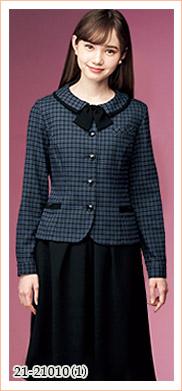 秋冬おすすめのかわいく上品なチェック柄、長袖オーバーブラウス EN JOIE(アンジョア)制服21-21010