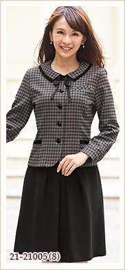 リボン付きで可愛い、人気のチェック柄オーバーブラウス EN JOIE(アンジョア)制服21-21005