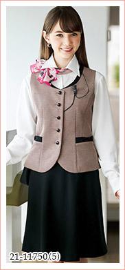 ピンクやブルーの清楚な色が可愛いツイードのニット素材ベスト EN JOIE(アンジョア)制服21-11750
