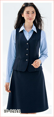 リピート率多数、ブラックのチェック柄ベスト SELERY(セロリー)制服事務服 89-04141