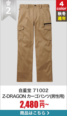 秋冬作業ズボン!シーンを選ばないかっこよさと、安さ。自重堂Z-DRAGONカーゴパンツ 71002
