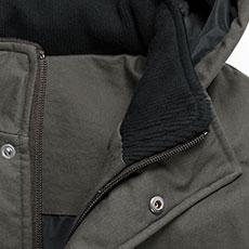 襟の内側にはリブ素材を使用。