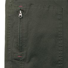 右ポケットは縦開きのファスナー仕様。